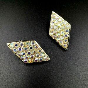 Emmons Diamond Shaped Pave Set Rhinestone Earrings